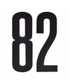 Cijfer sticker 82 zwart 10 cm