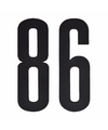 Cijfer sticker 86 zwart 10 cm