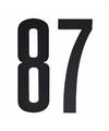 Cijfer sticker 87 zwart 10 cm