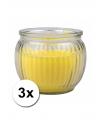 Citronella kaarsen geel 3 stuks