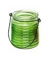 Citronellakaars in groen geribbeld glas 7 5 cm