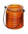 Citronellakaars in oranje geribbeld glas 7 5 cm