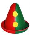 Clowns hoedje rood groen