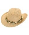 Cowboyhoed van stro met bloemenkrans
