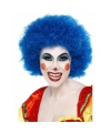 Crazy clown pruik blauw