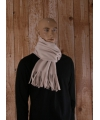 Creme fleece sjaal met franjes