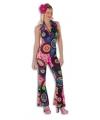 Dames disco jumpsuit gekleurd