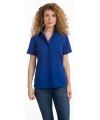 Dames overhemd blauw korte mouw
