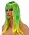 Dames pruik groen geel