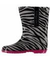Dames regenlaarzen met zebra motief roze