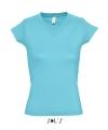 Dames t shirt v hals lichtblauw