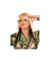 Damespruik blond met zwarte plukken