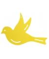 Decoratie muur vogel geel 22 cm