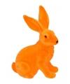 Decoratie paashaas oranje 23 cm