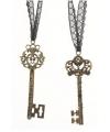 Decoratie sleutel met lint 10 cm