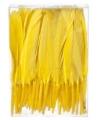 Decoratie veren geel 13 cm