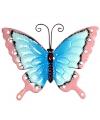 Decoratie vlinder blauw roze 30 cm