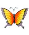 Decoratie vlinder geel paars 30 cm