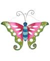 Decoratie vlinder groen roze 41 cm