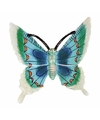 Decoratie vlinder wit blauw 17 cm kunststof