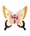 Decoratie vlinder wit geel 17 cm kunststof