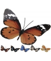 Decoratie vlinder zwart lichtblauw metaal 42 x 30 cm