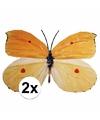 Decoratie vlinders 2 stuks geel oranje 30 x 25 cm