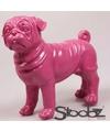 Dierenbeeld mopshond roze 30 cm