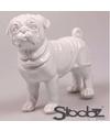 Dierenbeeld mopshond wit 30 cm