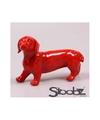 Dierenbeeld teckel hond rood 29 cm