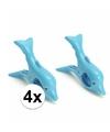 Dolfijnen handdoeken knijpers blauw 4 stuks