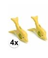 Dolfijnen handdoeken knijpers geel 4 stuks