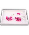 Donker roze roosjes van satijn 12 cm