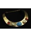 Egyptische halsketting goud met edelstenen