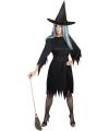 Enge heksen kostuum zwart