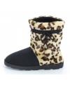 Fashion dames hoge sloffen luipaard bruin