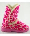 Fashion dames hoge sloffen luipaard roze