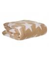 Fleece deken beige met ster 130 x 170 cm