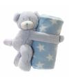 Fleece deken blauwe met knuffel beer 75 x 75 cm