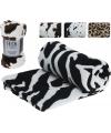 Fleece deken met koe print bruin zwart wit