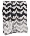Fleece deken zwart wit grijs zigzag