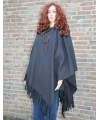 Fleece poncho antraciet