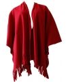 Fleece poncho rood