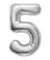 Folie ballon cijfer 5 zilver