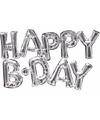 Folie ballon happy b day zilver 76 cm