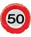 Folie ballon verkeersbord 50 jaar