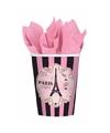 Frankrijk parijs thema bekers roze 8 stuks