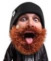 Gebreide muts met bruine baard