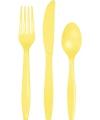 Geel plastic bestek 24 delig