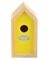 Geel vogelhuisje 10 x 11 x 20 cm
